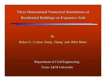 Three Dimensional Numerical Simulations of Residential Buildings ...