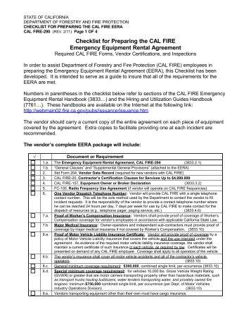 Checklist for Preparing the CDF-294 Emergency Equipment Rental ...