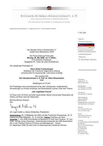 Die Steuben-Schurz-Gesellschaft eV vergibt ihren Medienpreis 2008!