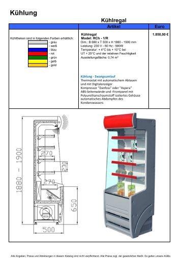 Kühl-, Gemüse- & Bäckereiregale - Gastro Concept