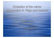 Evolution of the mirror suspension in Virgo and beyond - Fisica
