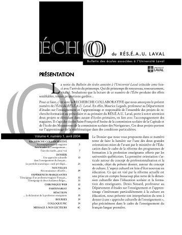 Reseau.novembre 2003. - Faculté des sciences de l'éducation ...