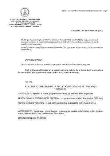 """""""CASILDA, 14 de octubre de 2010.- CONSIDERANDO: QUE el ..."""