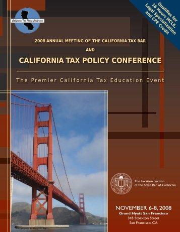 2008 California Tax Policy Conference - FTB.ca.gov