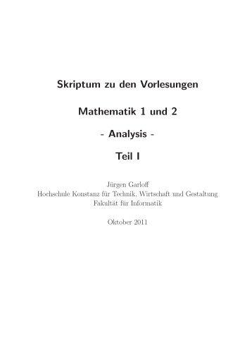 Skriptum zu den Vorlesungen Mathematik 1 und 2 - Hochschule ...