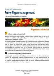 Allgemeine Hinweise zum Freiwilligen-Management