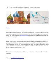 The Corliss Group Luxury Travel Agency on Russian Waterways