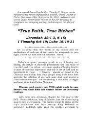 """""""True Faith, True Riches"""" - The First Congregational Church"""