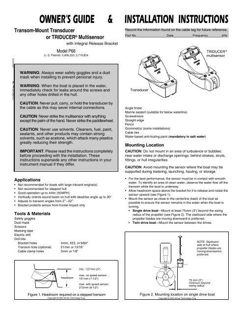 Installation Instructions - Airmar Technology Corporation