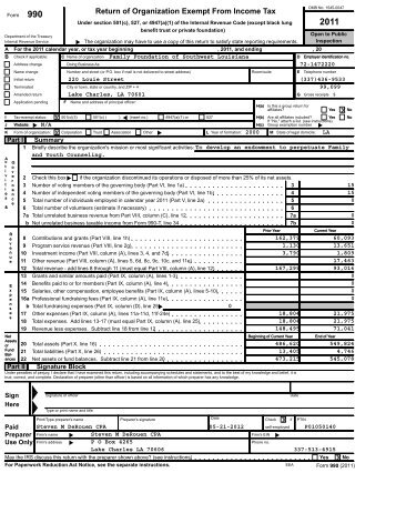 Family Foundation 2011 990 Form - Family and Youth Counseling ...