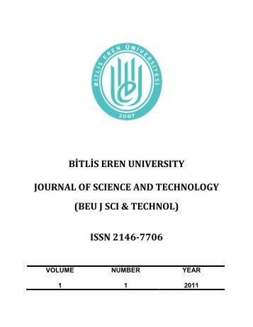 CONTENTS - Bitlis Eren University Journal of  Science and Technology