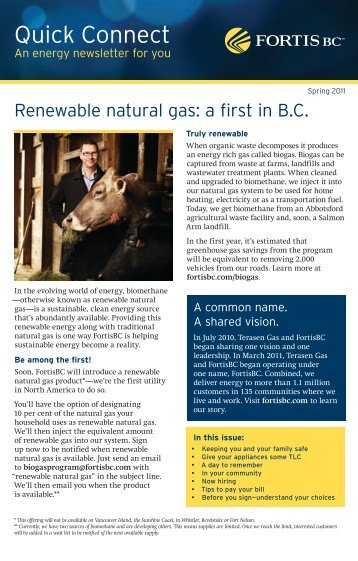 FortisBC - Quick Connect newsletter - An energy newsletter for you