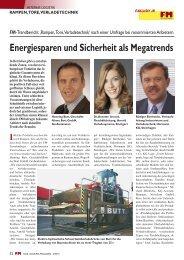 Energiesparen und Sicherheit als Megatrends - FM