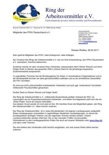 Ring der Arbeitsvermittler e.V. - Fachverband Personal- und ...