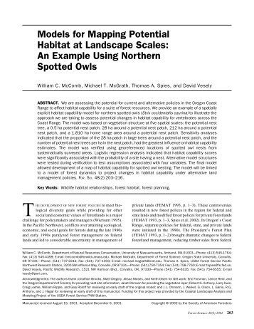 Models for Mapping Potential Habitat at Landscape Scales: An ...