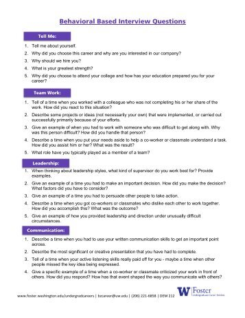 Behavioral Interview Questions   University Of Washington Foster .