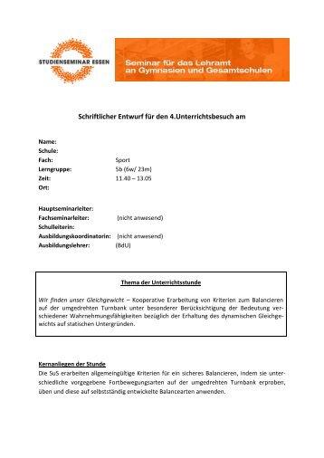 Im Gleichgewicht auf umgedrehter Langbank bleiben ... - FSSport.de