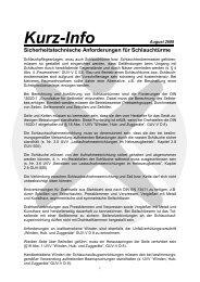 Sicherheitstechnische Anforderungen für Schlauchtürme - FUK-Mitte