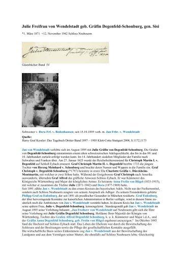 Julie von Wendelstadt - Gästebücher von Schloss Neubeuern