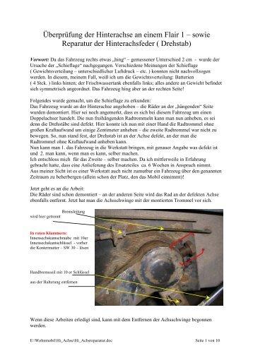 Überprüfung der Hinterachse an einem Flair 1 - Flair-Arto-Clou Forum