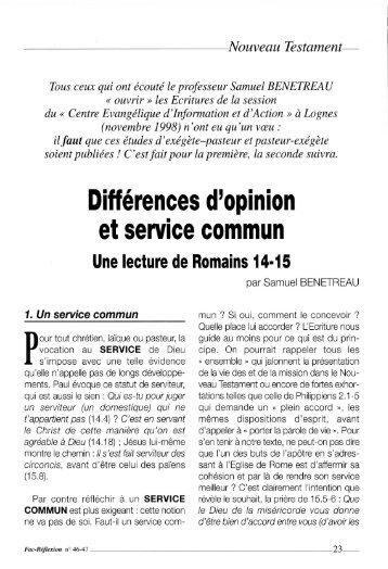 Nouveau Testament - Faculté Libre de Théologie Évangélique