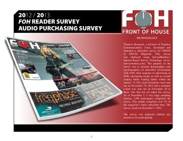 2012 / 2013 FOH READER SURVEY AUDIO ... - FOH Online