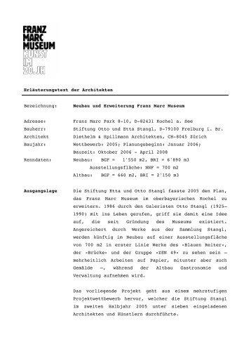 Erläuterungstext der Architekten Bezeichnung - Franz Marc Museum