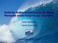 Zeitliche Kolktiefenentwicklung um einen Monopile unter Wellen - FZK
