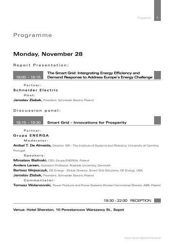 Monday, November 28 Programme - Economic Forum