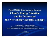 China's Energy Situation and its Future and the New Energy - OPEC