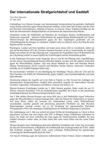 Der internationale Strafgerichtshof und Gaddafi - Freiheit für ...