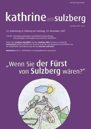 """""""Wenn Sie der Fürst von Sulzberg wären?"""""""