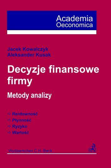Decyzje finansowe firmy Metody analizy - Gandalf