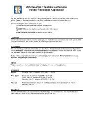 2012 Georgia Thespian Conference Vendor / Exhibitor Application
