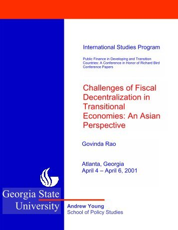 Challenges of Fiscal Decentralization in Transitional Economies ...