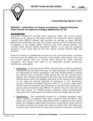 REPORT TO MAYOR AND COUNCIL NO: 12 ... - City of Sunnyvale