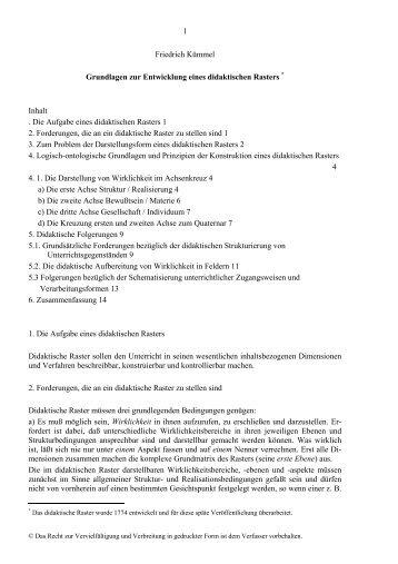 1 Friedrich Kümmel Grundlagen zur Entwicklung eines didaktischen ...