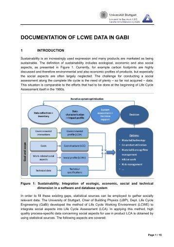 DOCUMENTATION OF LCWE DATA IN GABI 4 - GaBi Software