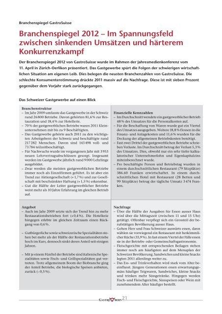 Branchenspiegel 2012 – Im Spannungsfeld zwischen ... - GastroBern
