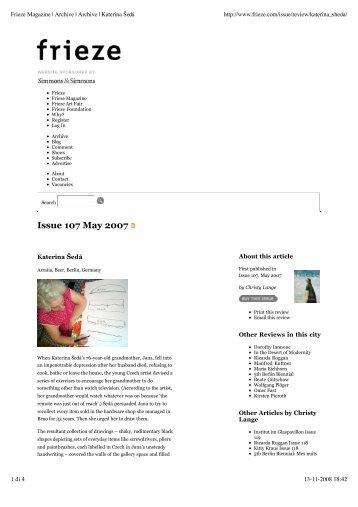 frieze magazine, may 2007 - Franco Soffiantino Contemporary Art ...