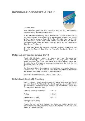 Infobrief 01_11 - Golfclub Altötting-Burghausen