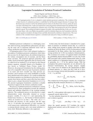 Lagrangian Formulation of Turbulent Premixed Combustion