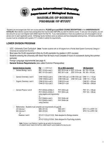 LOWER DIVISION PROGRAM - College of Arts & Sciences