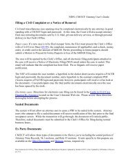 Filing a Civil Complaint or a Notice of - the Northern District of Florida