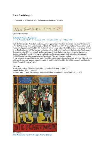 Hans Anetsberger - Gästebücher von Schloss Neubeuern