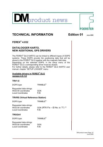 Edition 01 June 2009 TECHNICAL INFORMATION