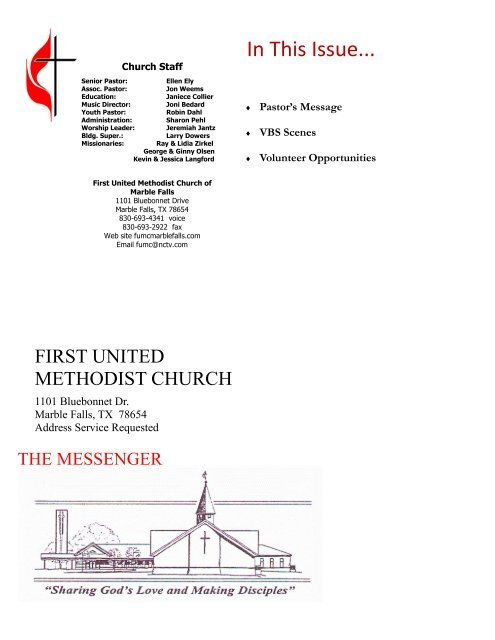 Newsletter First United Methodist Church Marble Falls