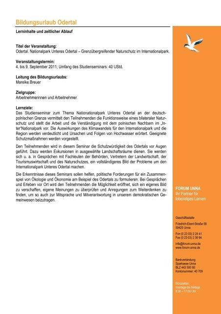 Programm Odetal 2011 - Forum Unna
