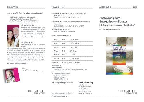 Ausbildung zum energetischen berater - Der frankfurter ring