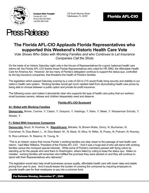 Health Insurance Florida >> Press Release House Passage Of Health Care Florida
